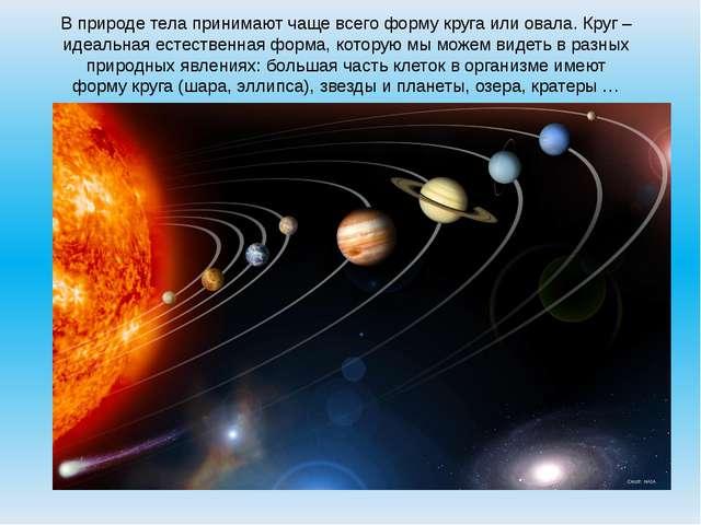 В природе тела принимают чаще всего форму круга или овала. Круг – идеальная е...