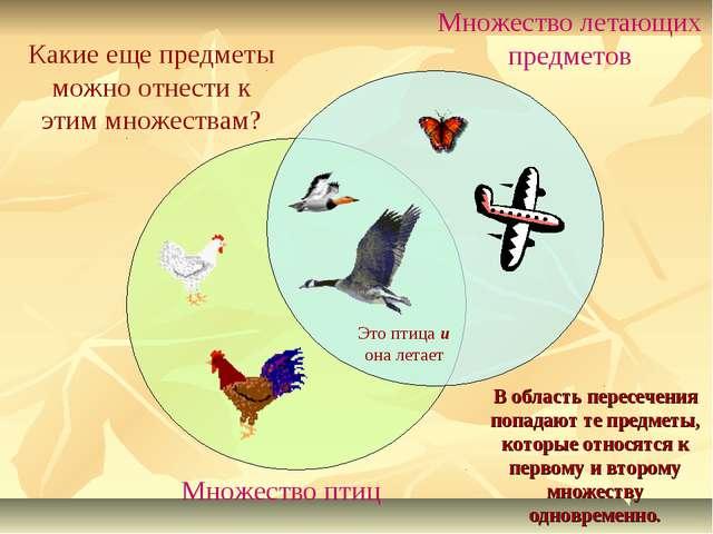 Множество птиц Множество летающих предметов Какие еще предметы можно отнести...