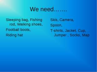 We need……. Sleeping bag, Fishing rod, Walking shoes, Football boots, Riding h