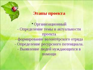 Этапы проекта Организационный - Определение темы и актуальности проекта - фо