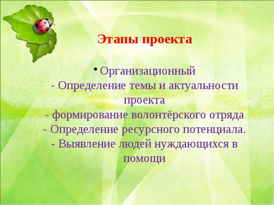 Этапы проекта Организационный - Определение темы и актуальности проекта - фо...
