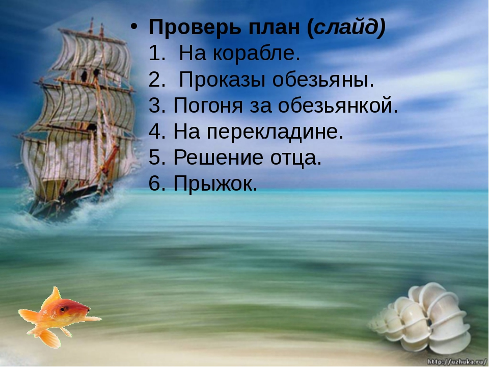 Проверь план (слайд) 1. На корабле. 2. Проказы обезьяны. 3. Погоня за обезь...