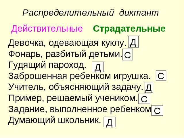 Распределительный диктант Действительные Страдательные Девочка, одевающая ку...