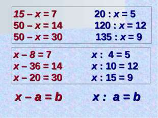 15 – x = 7 20 : x = 5 50 – x = 14 120 : x = 12 50 – x = 30 135 : x = 9 x – 8