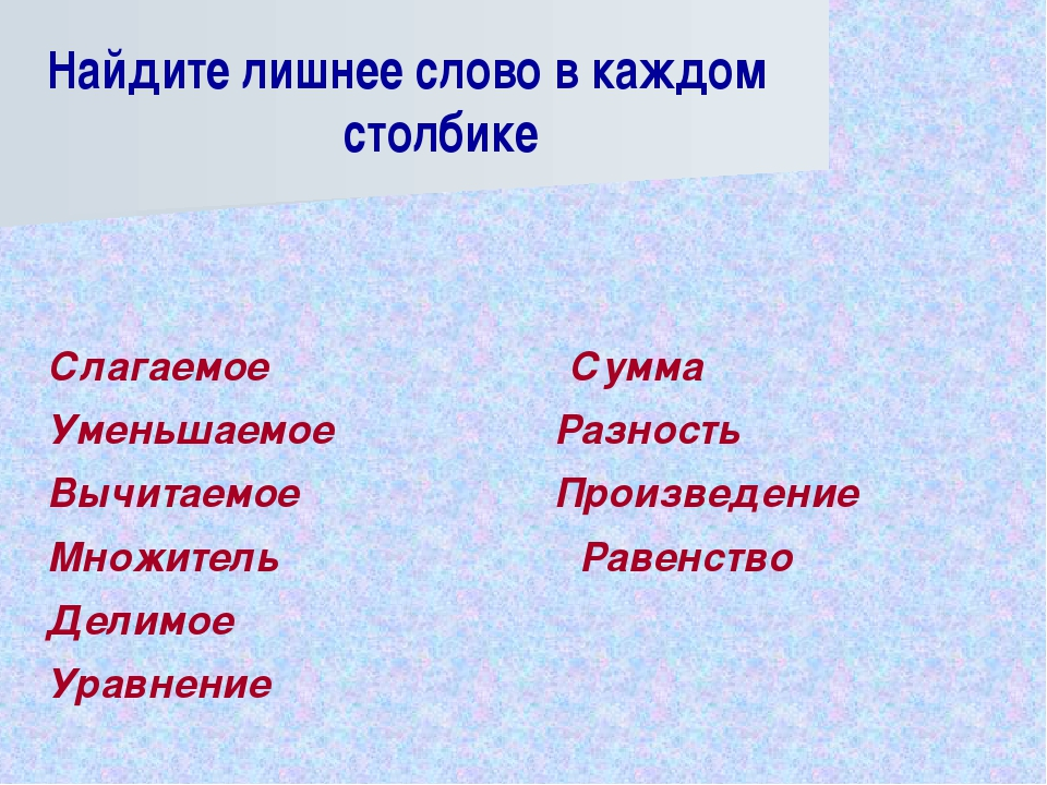 Слагаемое Сумма Уменьшаемое Разность Вычитаемое Произведение Множитель...