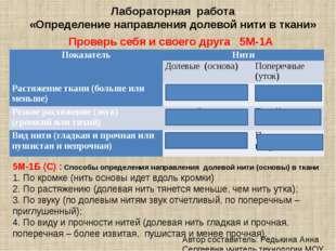 Лабораторная работа «Определение направления долевой нити в ткани» Проверь се