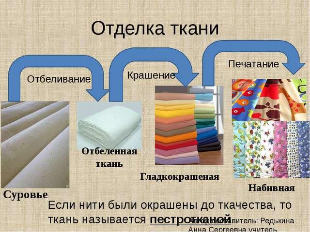 Отделка ткани Суровье Отбеленная ткань Гладкокрашеная Набивная Крашение Отбел...