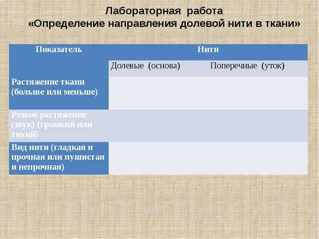Лабораторная работа «Определение направления долевой нити в ткани» Автор сост...