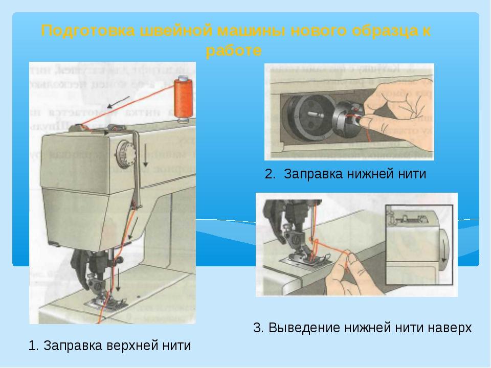 Подготовка швейной машины нового образца к работе 2. Заправка нижней нити 1....