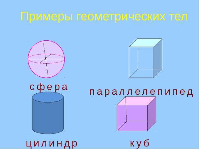Примеры геометрических тел цилиндр сфера куб параллелепипед