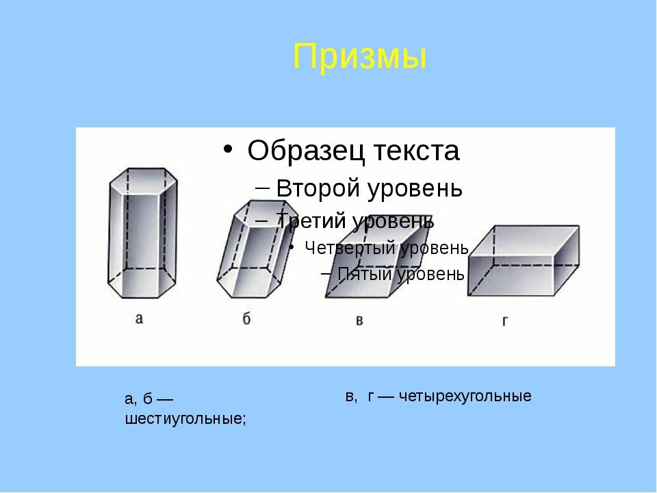 а, б — шестиугольные; в, г — четырехугольные Призмы