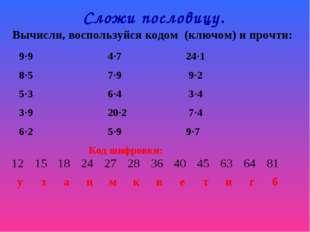 Сложи пословицу. Вычисли, воспользуйся кодом (ключом) и прочти: 9·9 4·7 24·1