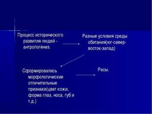 Процесс исторического развития людей - антропогенез. Разные условия среды оби