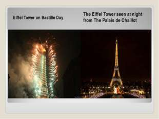 Eiffel Tower on Bastille Day The Eiffel Tower seen at night from The Palais d