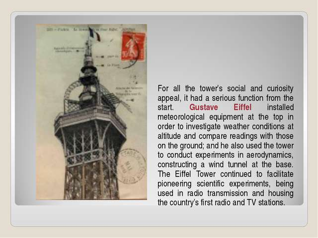 For all the tower's social and curiosity appeal, it had a serious function fr...