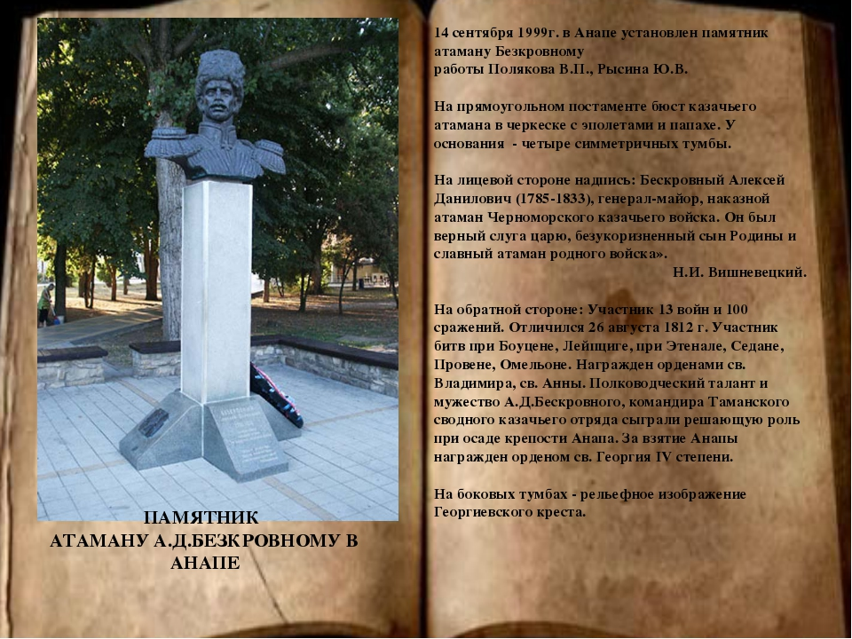 ПАМЯТНИК АТАМАНУ А.Д.БЕЗКРОВНОМУ В АНАПЕ 14 сентября 1999г. в Анапе установл...