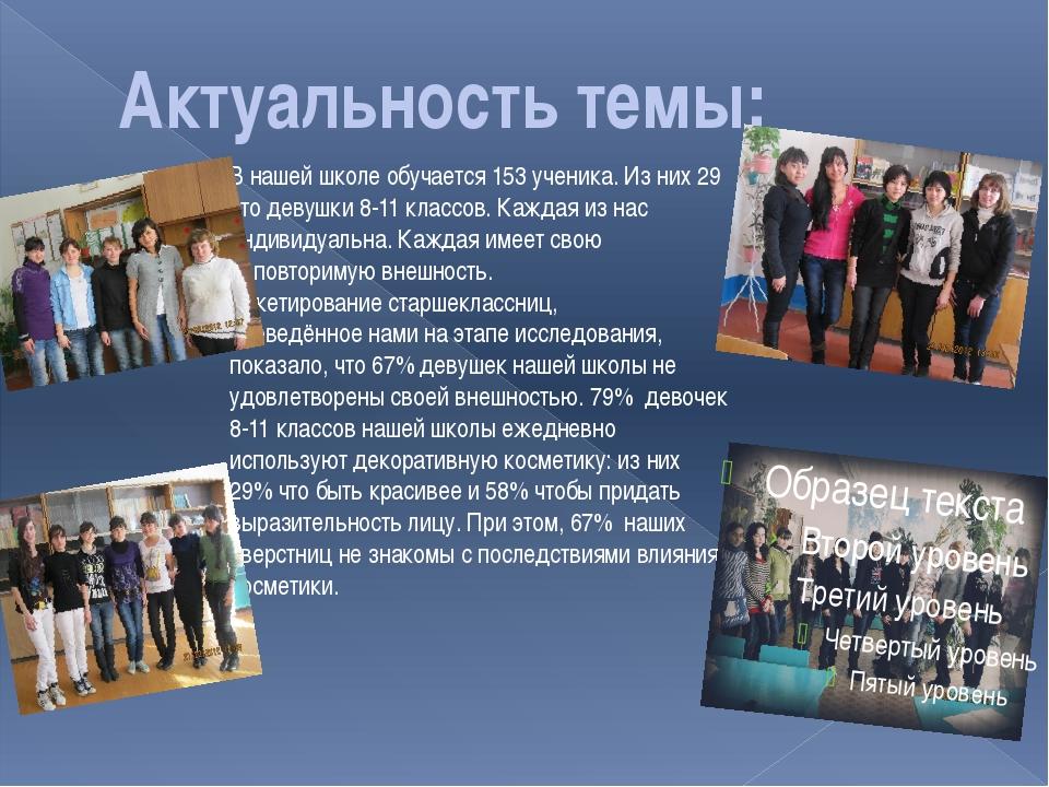 Актуальность темы: В нашей школе обучается 153 ученика. Из них 29 это девушки...