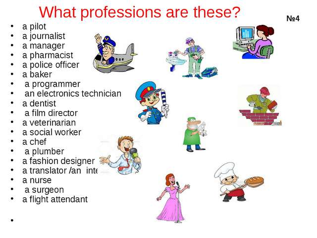 What professions are these? a pilot	 a journalist	 a manager 	 a pharmacist...