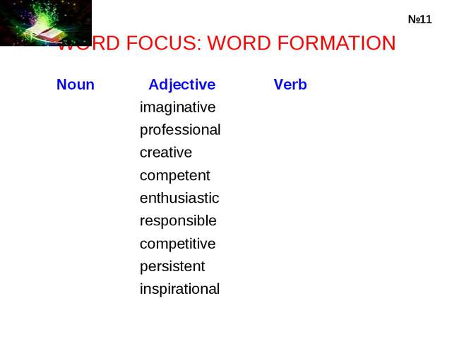 WORD FOCUS: WORD FORMATION №11 Noun	 Adjective 	 Verb 	imaginative 	 	profess...