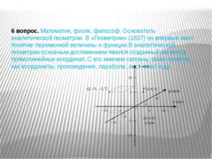 6 вопрос.Математик, физик, философ. Основатель аналитической геометрии. В «Г