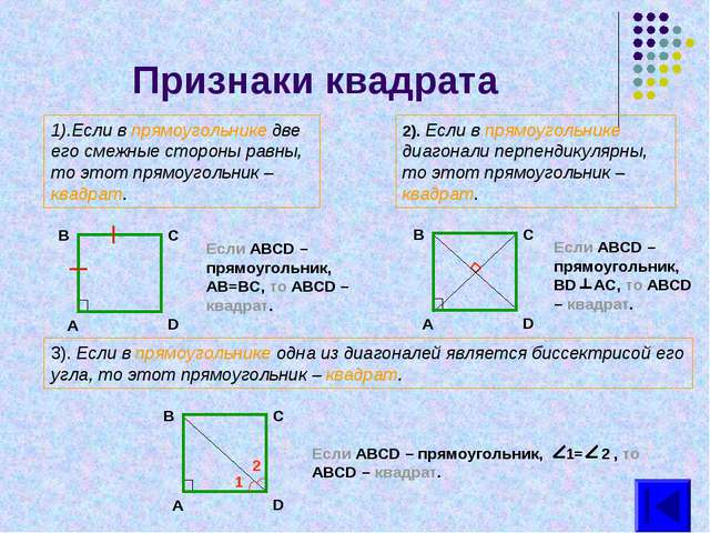 Признаки квадрата 1).Если в прямоугольнике две его смежные стороны равны, то...