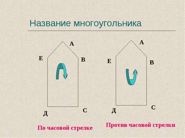 Название многоугольника А В С Д Е А В С Д Е По часовой стрелке Против часовой...