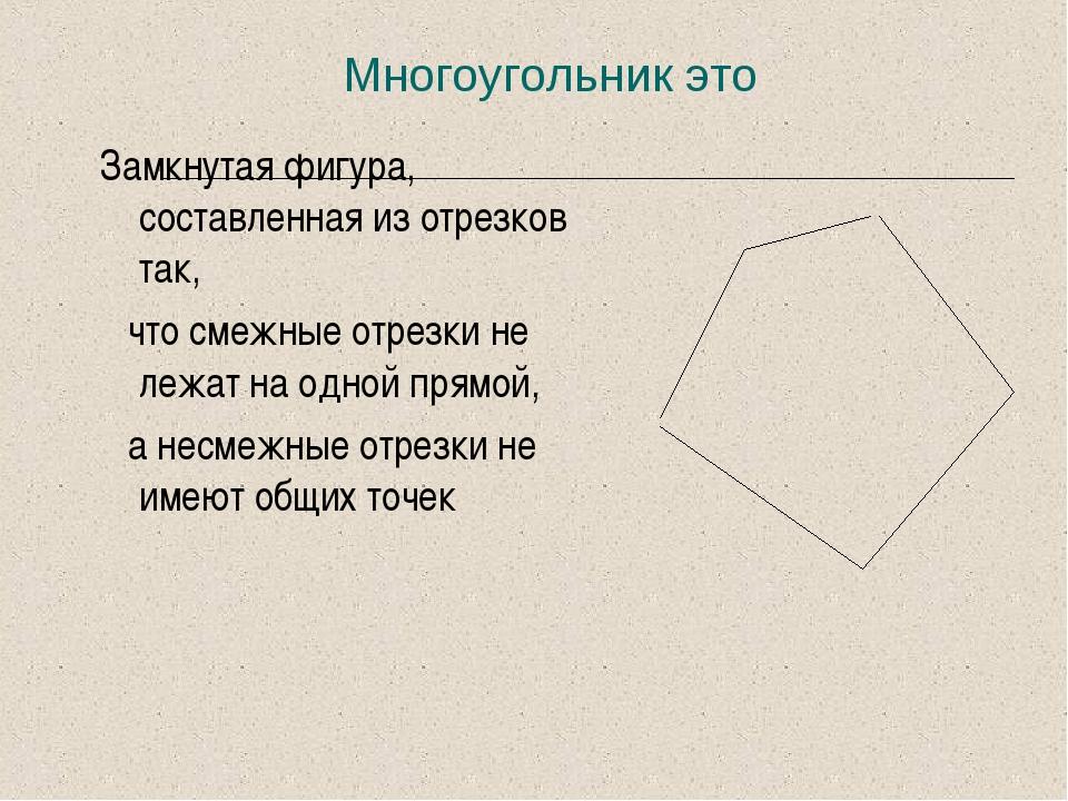 Многоугольник это Замкнутая фигура, составленная из отрезков так, что смежные...