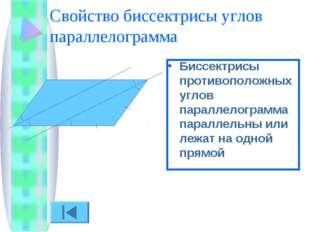 Свойство биссектрисы углов параллелограмма Биссектрисы противоположных углов