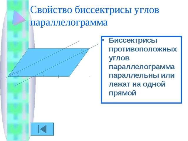 Свойство биссектрисы углов параллелограмма Биссектрисы противоположных углов...