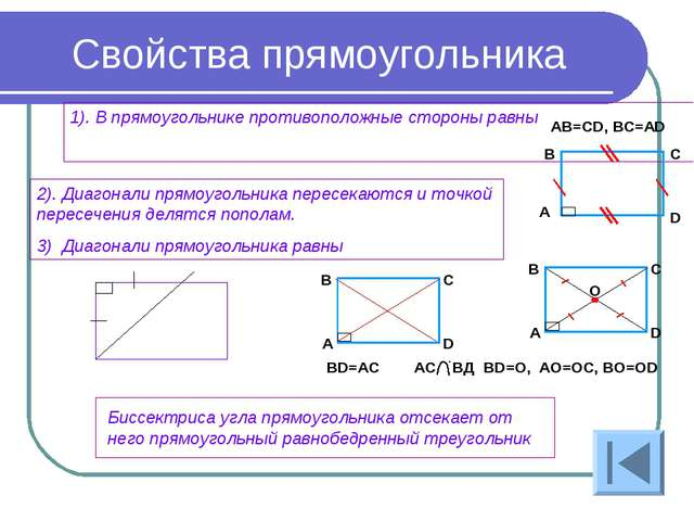 Свойства прямоугольника 1). В прямоугольнике противоположные стороны равны 2)...