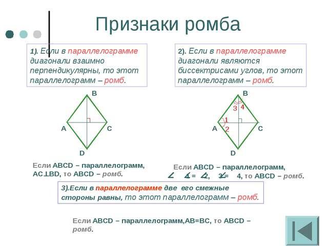Признаки ромба 1). Если в параллелограмме диагонали взаимно перпендикулярны,...