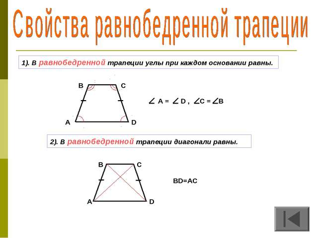 1). В равнобедренной трапеции углы при каждом основании равны. 2). В равнобед...