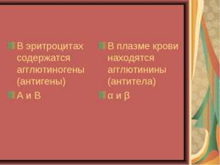 В эритроцитах содержатся агглютиногены (антигены) А и В В плазме крови находя