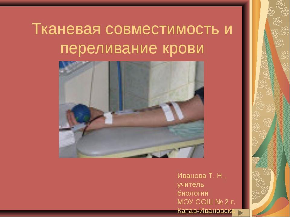 Тканевая совместимость и переливание крови Иванова Т. Н., учитель биологии МО...