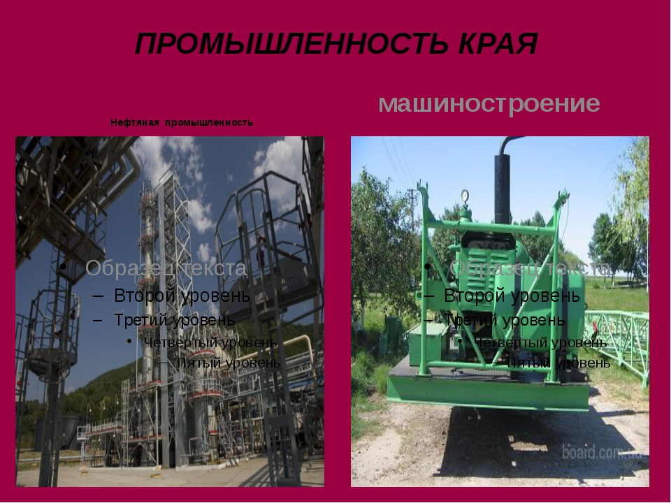 ПРОМЫШЛЕННОСТЬ КРАЯ Нефтяная промышленность машиностроение