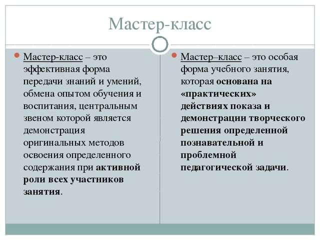 Мастер-класс Мастер-класс – это эффективная форма передачи знаний и умений, о...