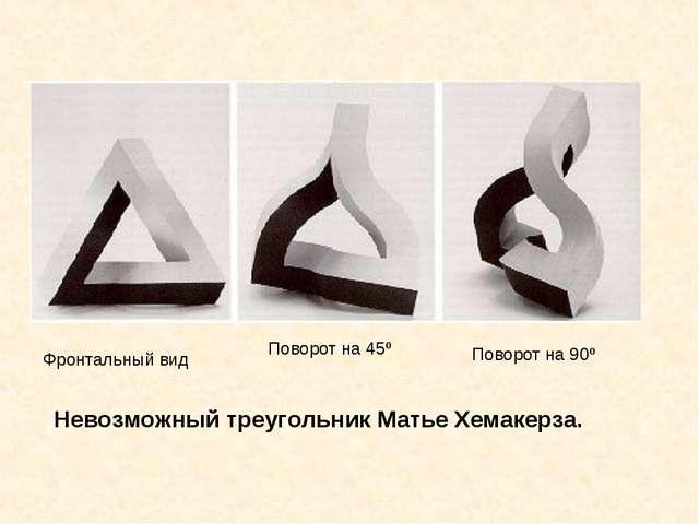 Невозможный треугольник Матье Хемакерза. Фронтальный вид Поворот на 45º Повор...