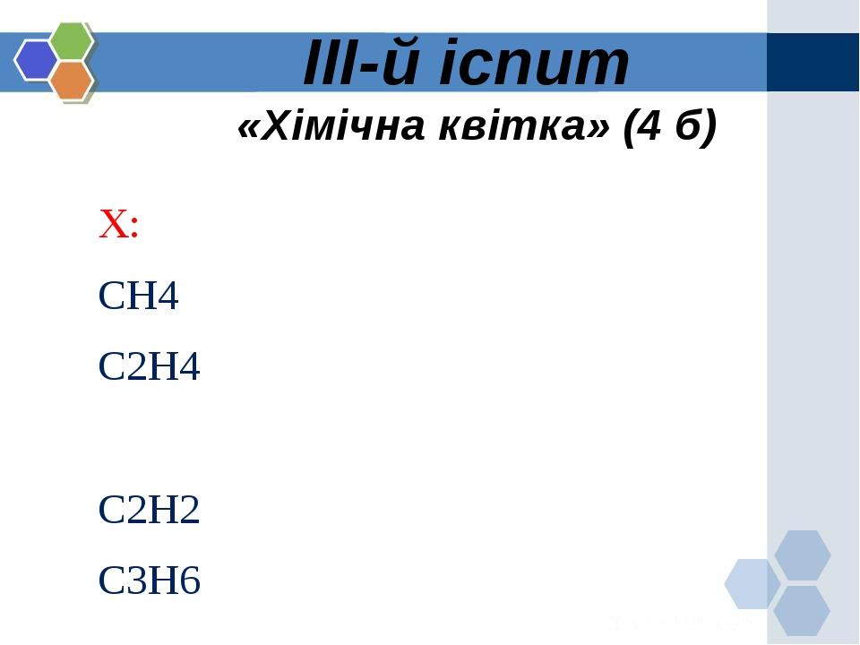 ІІІ-й іспит «Хімічна квітка» (4 б) Х: СН4 С2Н4 С2Н2 С3Н6