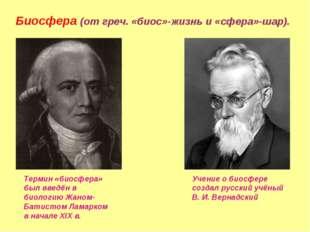 Биосфера (от греч. «биос»-жизнь и «сфера»-шар). Термин «биосфера» был введён