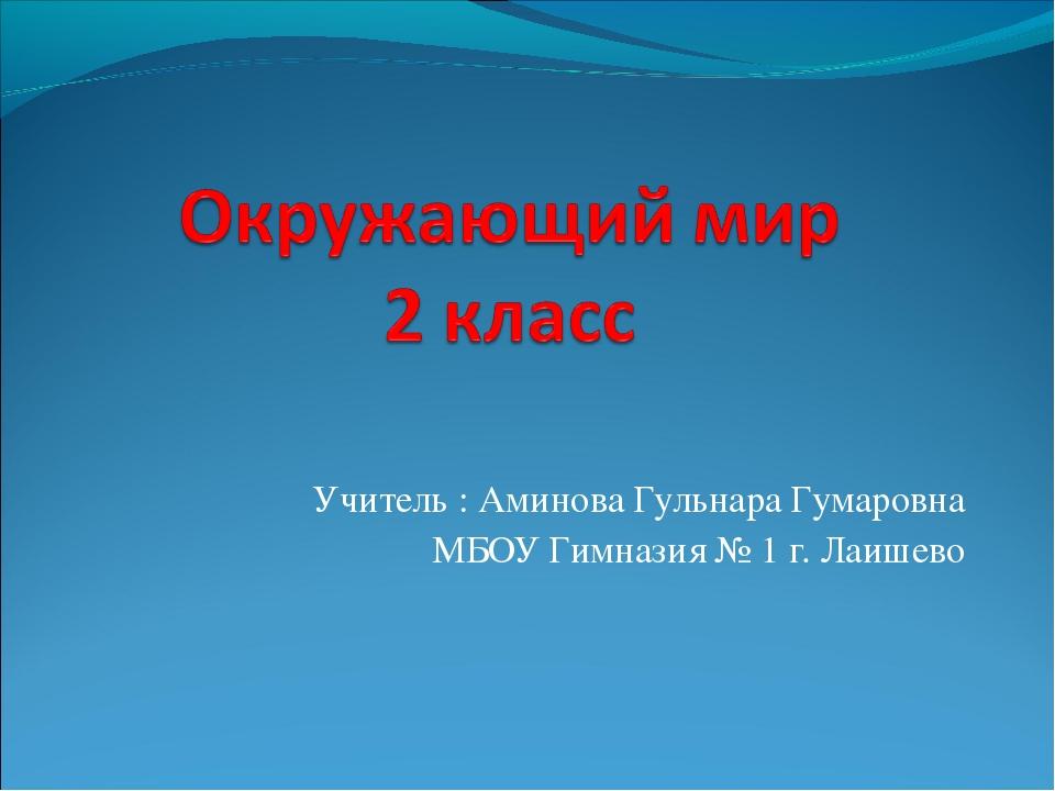 Учитель : Аминова Гульнара Гумаровна МБОУ Гимназия № 1 г. Лаишево