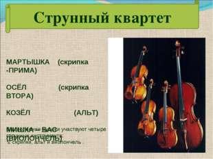 МАРТЫШКА (скрипка -ПРИМА) ОСЁЛ (скрипка ВТОРА) КОЗЁЛ (АЛЬТ) МИШКА – БАС (ВИОЛ