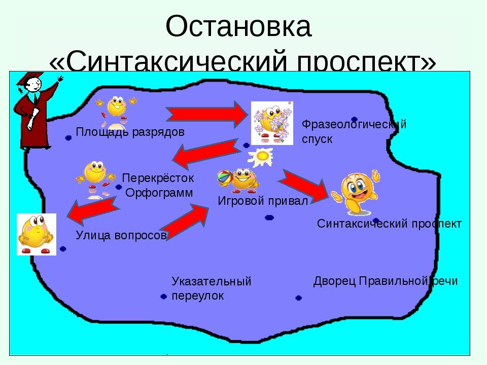 Остановка «Синтаксический проспект» Площадь разрядов Перекрёсток Орфограмм Ук...