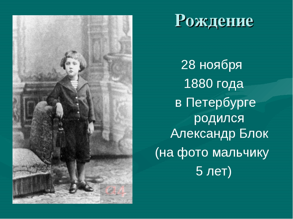 Рождение 28 ноября 1880 года в Петербурге родился Александр Блок (на фото ма...