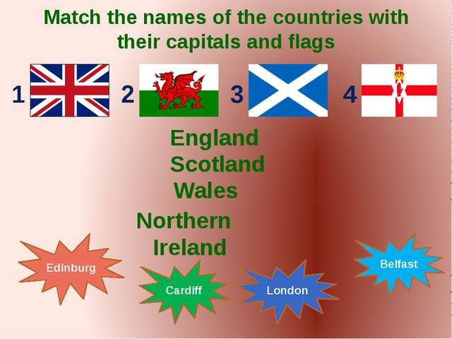 Match the names of the countries with their capitals and flags England Scotla...