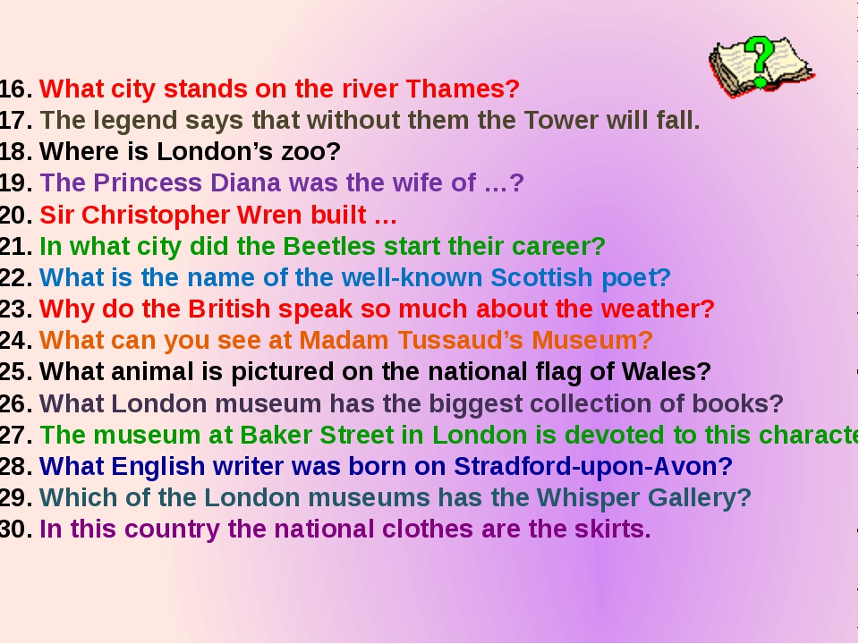 What city stands on the river Thames? The legend says that without them the T...