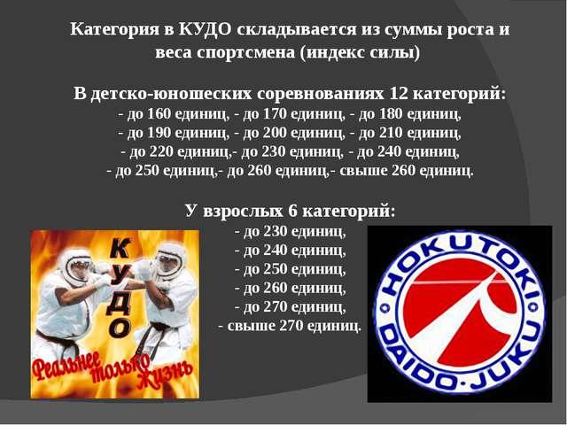 Категория в КУДО складывается из суммы роста и веса спортсмена (индекс силы)...