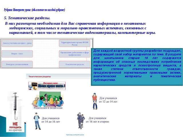 Рубрики Интернет-урока:(объяснение по каждой рубрике) 5. Тематические раздел...