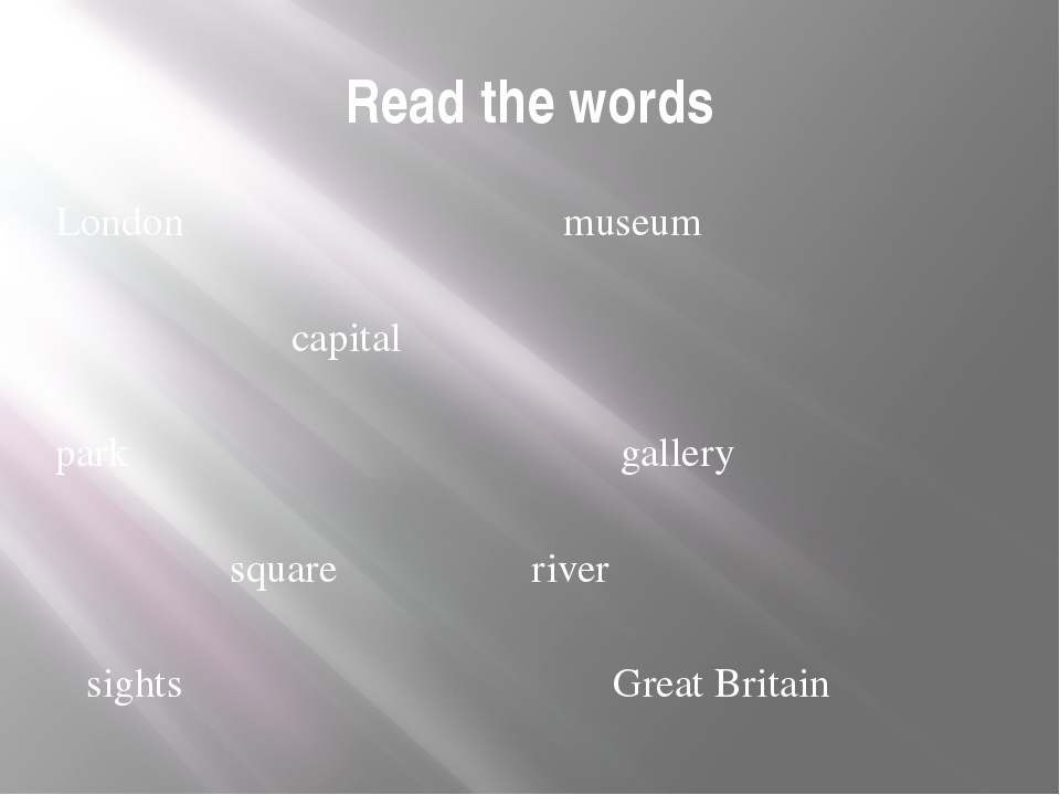 Read the words London museum capital park gallery square river sights Great B...