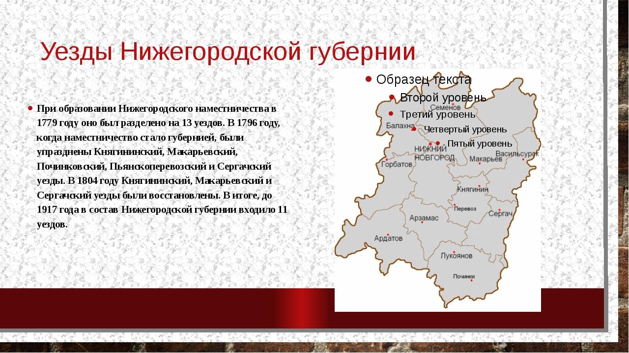 Уезды Нижегородской губернии При образовании Нижегородского наместничества в...