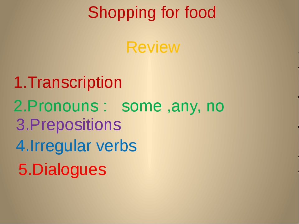 Shopping for food 1.Transcription 2.Pronouns : some ,any, no 3.Prepositions 4...